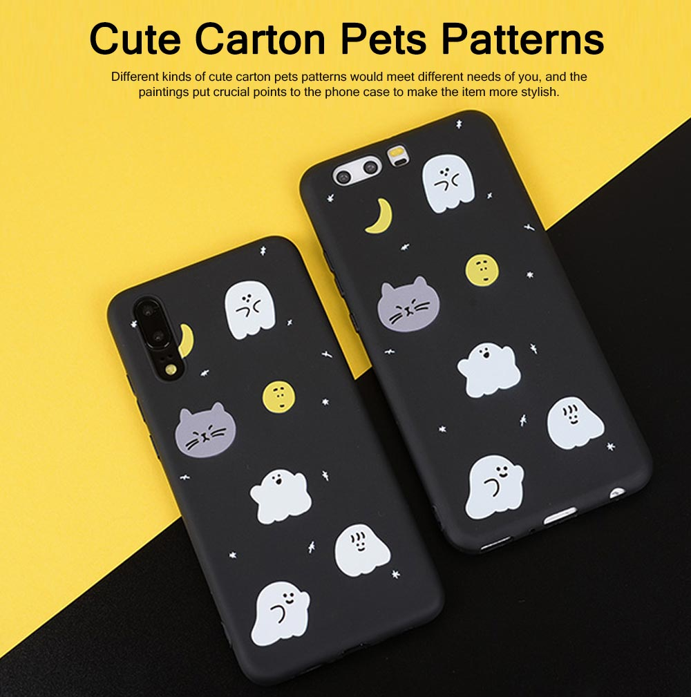 Cute Phone Case with Unique Starry Sky Cats Poodle Bichon Frise Patterns, Black Soft TPU Phone Cover for iPhone Huawei P20 Pro p10 PLUS 5