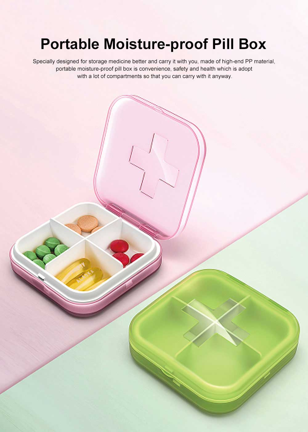 Moisture-proof Waterproof Weekly Pill Case, Multi-purpose Pill Organizer Pure Color Medicine Box 0