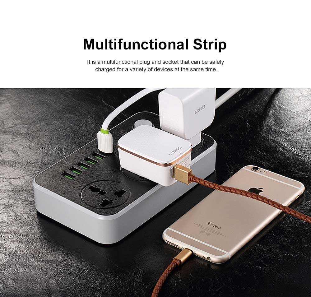 Multifunctional Plug with 6 USB Terminal Board & Non-slip Rubber Pad & Children's Safety Protection Valve 2M USB Charging Socket Panel 1