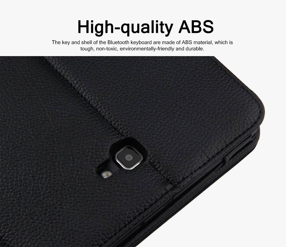 Bluetooth Keyboard PU Leather Cover for Samsung Galaxy Tab A 10.1 inch T580, Luxury Delicate Minimalist ABS Key Separate Panel Protective Case 1