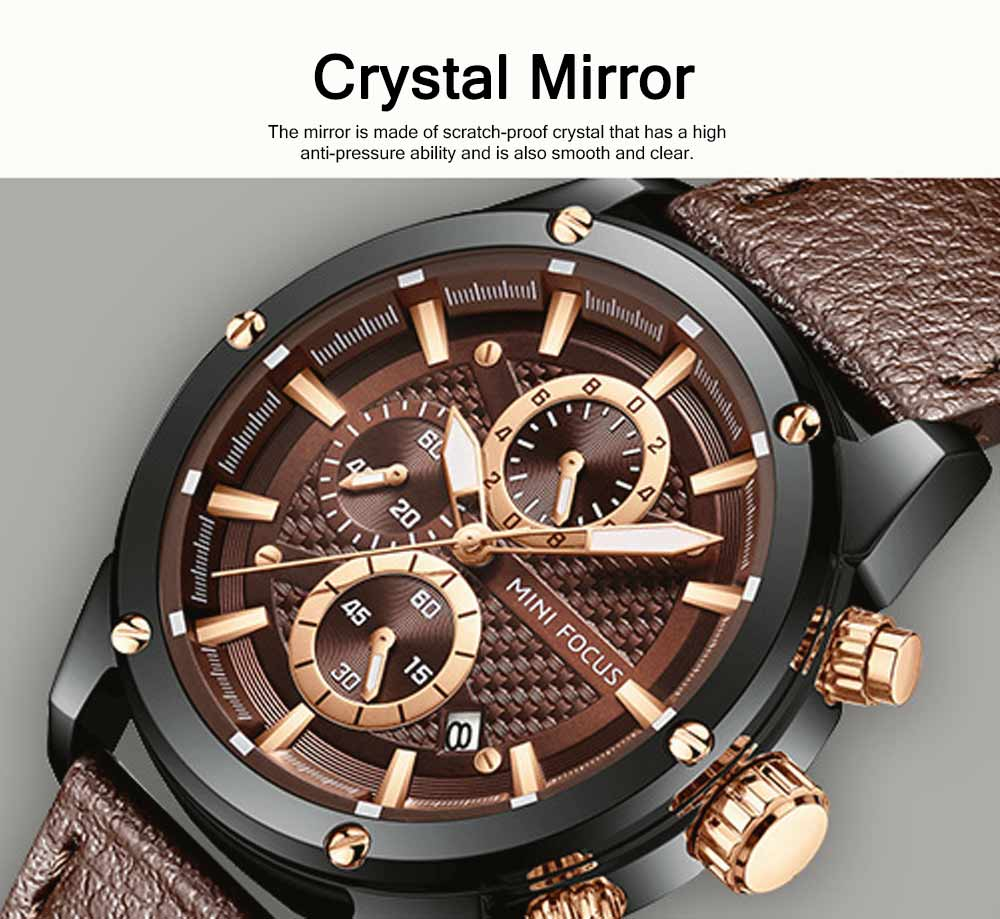 Waterproof Luminous Watch with Calendar, Business Men's Watch with Leather Band 2019 Fashion Mechanical Watch 3