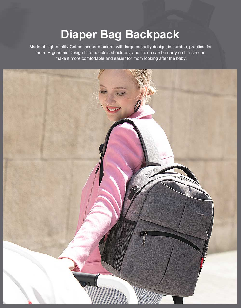 Diaper Bag Backpack Insular Fashion Baby Nursing Backpack with Large Capacity, Multi-Function Waterproof Durable Mammy Shoulders Bag 0