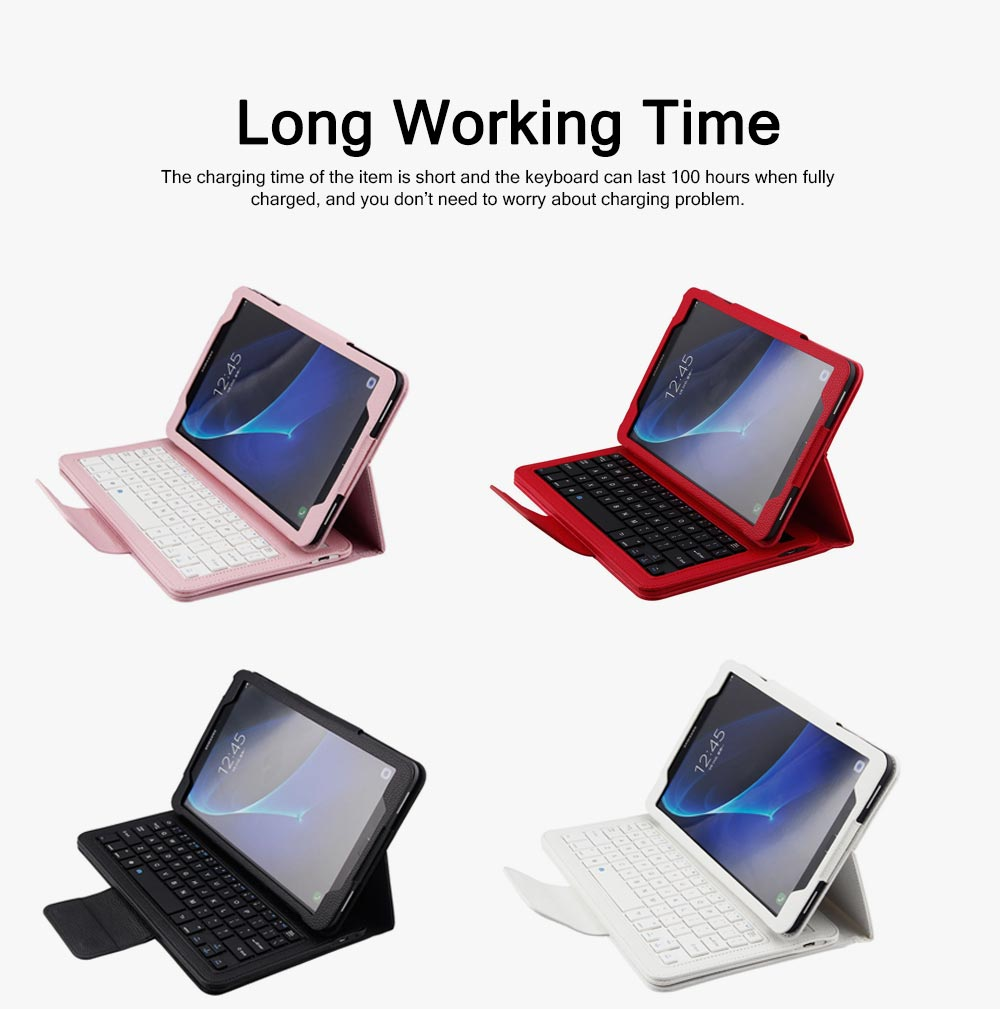 Bluetooth Keyboard PU Leather Cover for Samsung Galaxy Tab A 10.1 inch T580, Luxury Delicate Minimalist ABS Key Separate Panel Protective Case 3