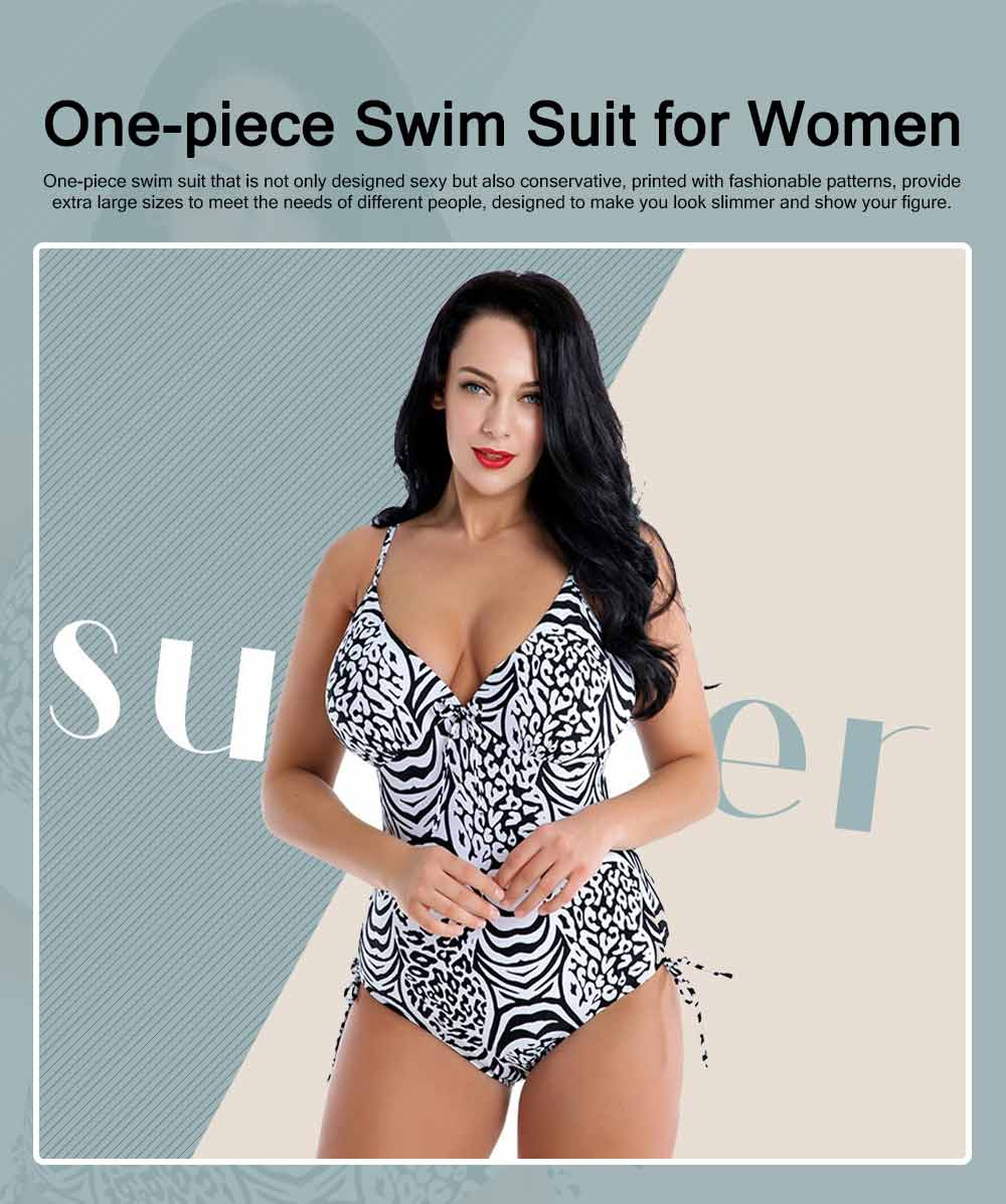 One-piece Swim Suit for Women, Sexy Swimsuit with Fashionable Pattern, One-piece Bikin with Extra Large Size 0