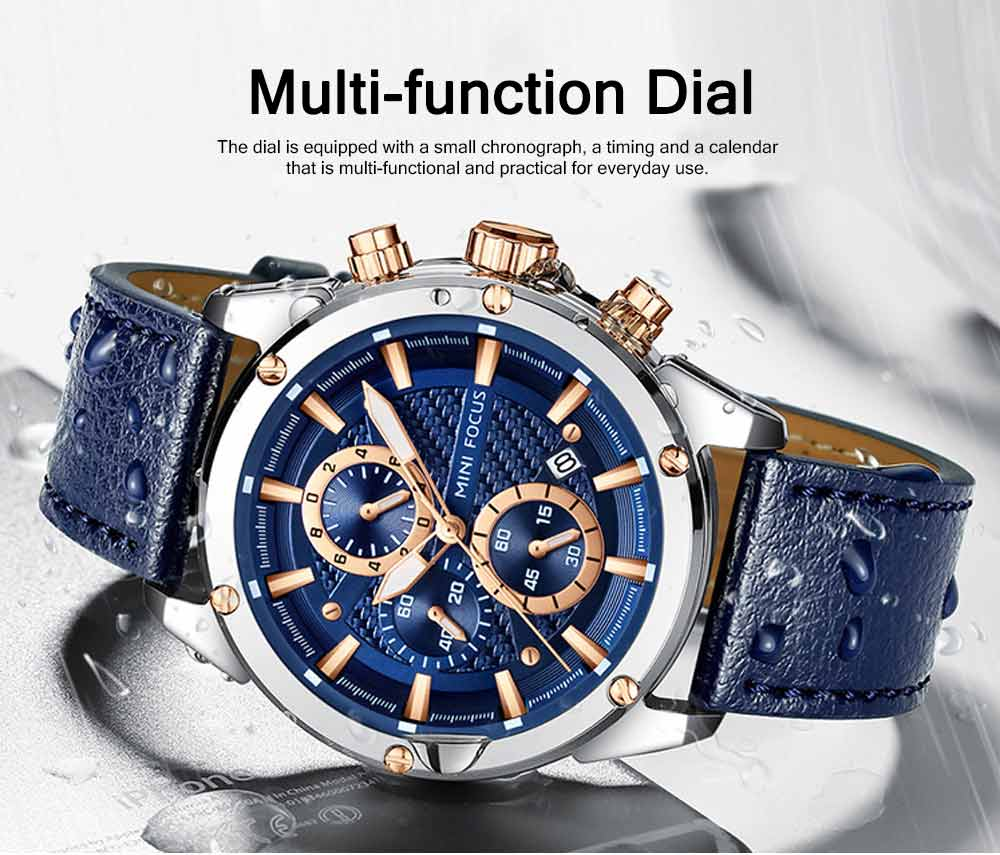 Waterproof Luminous Watch with Calendar, Business Men's Watch with Leather Band 2019 Fashion Mechanical Watch 1