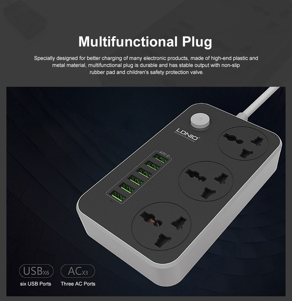 Multifunctional Plug with 6 USB Terminal Board & Non-slip Rubber Pad & Children's Safety Protection Valve 2M USB Charging Socket Panel 0