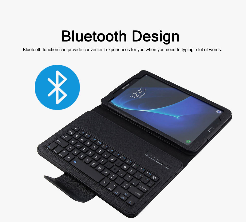 Bluetooth Keyboard PU Leather Cover for Samsung Galaxy Tab A 10.1 inch T580, Luxury Delicate Minimalist ABS Key Separate Panel Protective Case 5