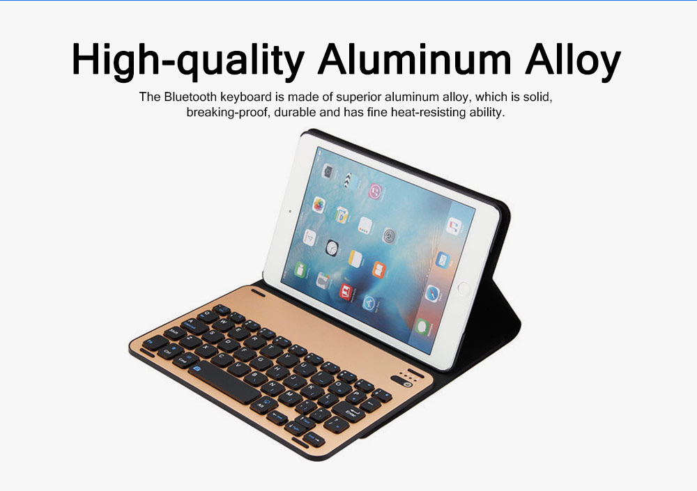 3 in 1 iPad Mini 4 Slim Wireless Aluminum Alloy Bluetooth Keyboard Smart Case , Skin-friendly Leather Filp Cover with Split Type Keyboard Auto Sleep Wake 1