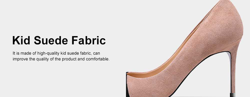 Kid Suede High-heeled Shoes for Women, Nude Black Concise Style High Heels, Pointed Design Gum-rubber Outsole Sandals 5