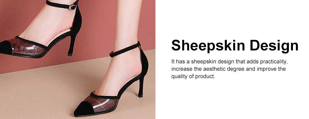 Plaid Sandals for Women, TPR Shoe Sole Sheepskin High Heels, Modified Leg Line Multi-sizes High-heeled Shoes Summer 2019 4