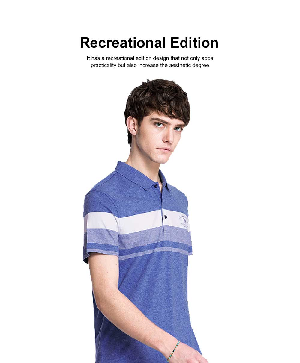Cool Contrast Tops for Men, Recreational Edition Short-sleeve Polo, Breathable Spandex Cotton T-shirt 2