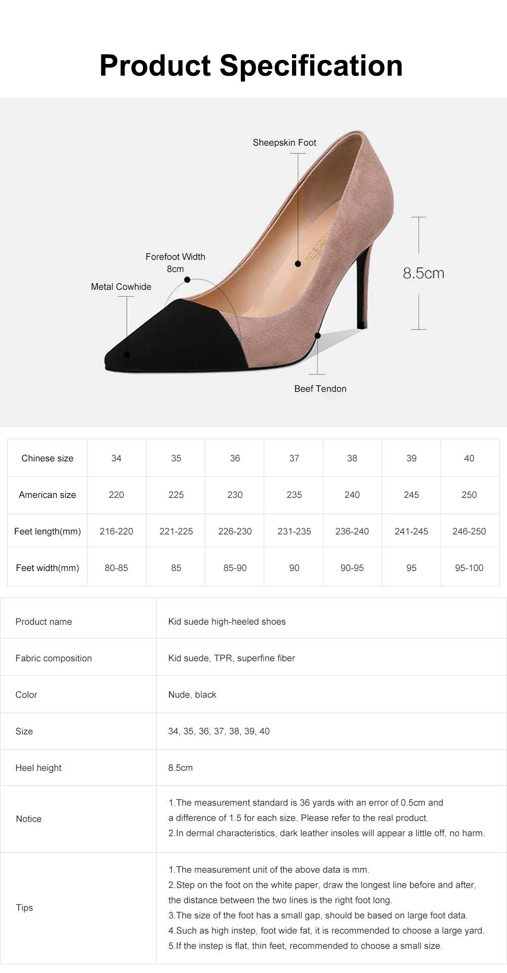 Kid Suede High-heeled Shoes for Women, Nude Black Concise Style High Heels, Pointed Design Gum-rubber Outsole Sandals 6