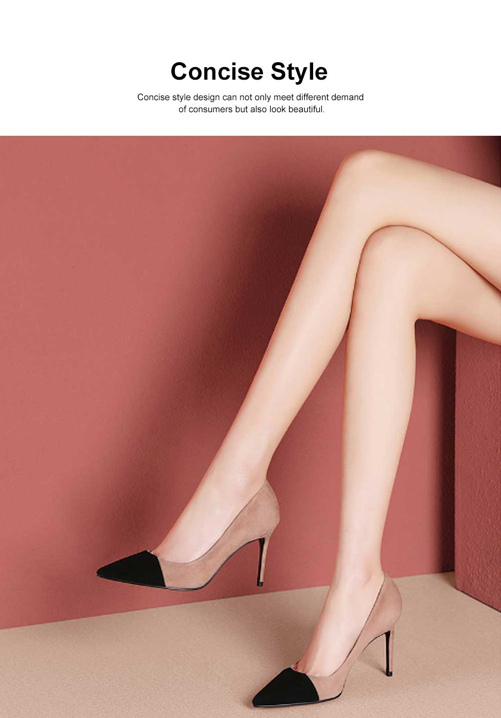 Kid Suede High-heeled Shoes for Women, Nude Black Concise Style High Heels, Pointed Design Gum-rubber Outsole Sandals 1