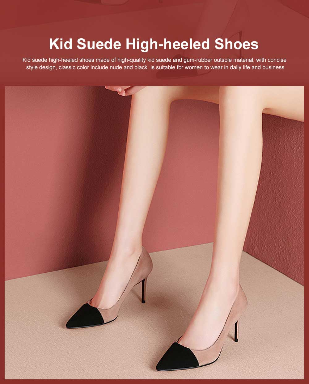 Kid Suede High-heeled Shoes for Women, Nude Black Concise Style High Heels, Pointed Design Gum-rubber Outsole Sandals 0
