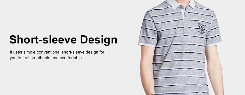 Rib Neckline Polo Shirt for Men, Perspire Fastener Design Shirt, Breathable Short-sleeve Polo Summer 2019 3