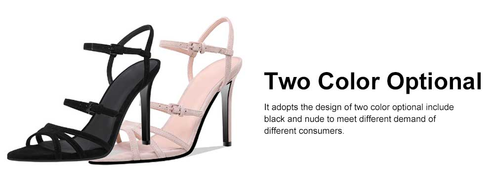 Heel Sandals for Women, Cross Lacing High-heeled Shoes with Fingerless TPR Sole, Kid Suede Heel-height 8cm Leather High Heels 2