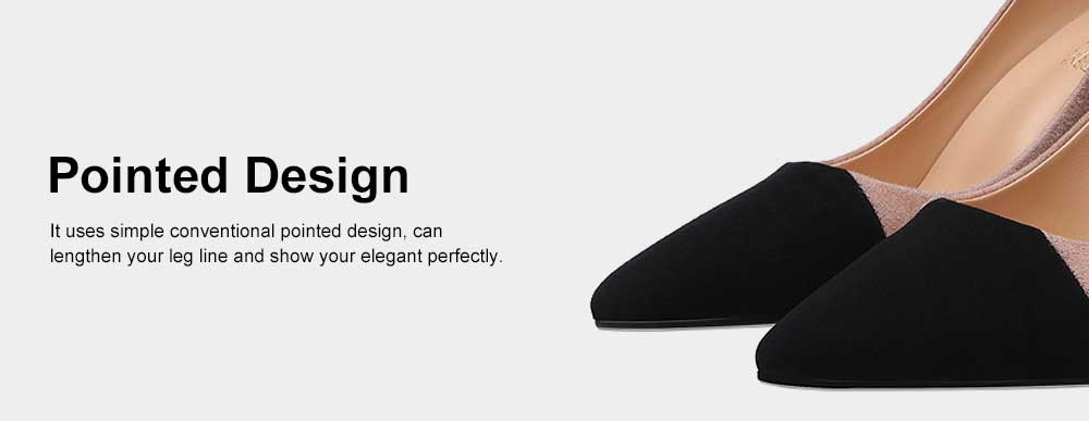 Kid Suede High-heeled Shoes for Women, Nude Black Concise Style High Heels, Pointed Design Gum-rubber Outsole Sandals 3