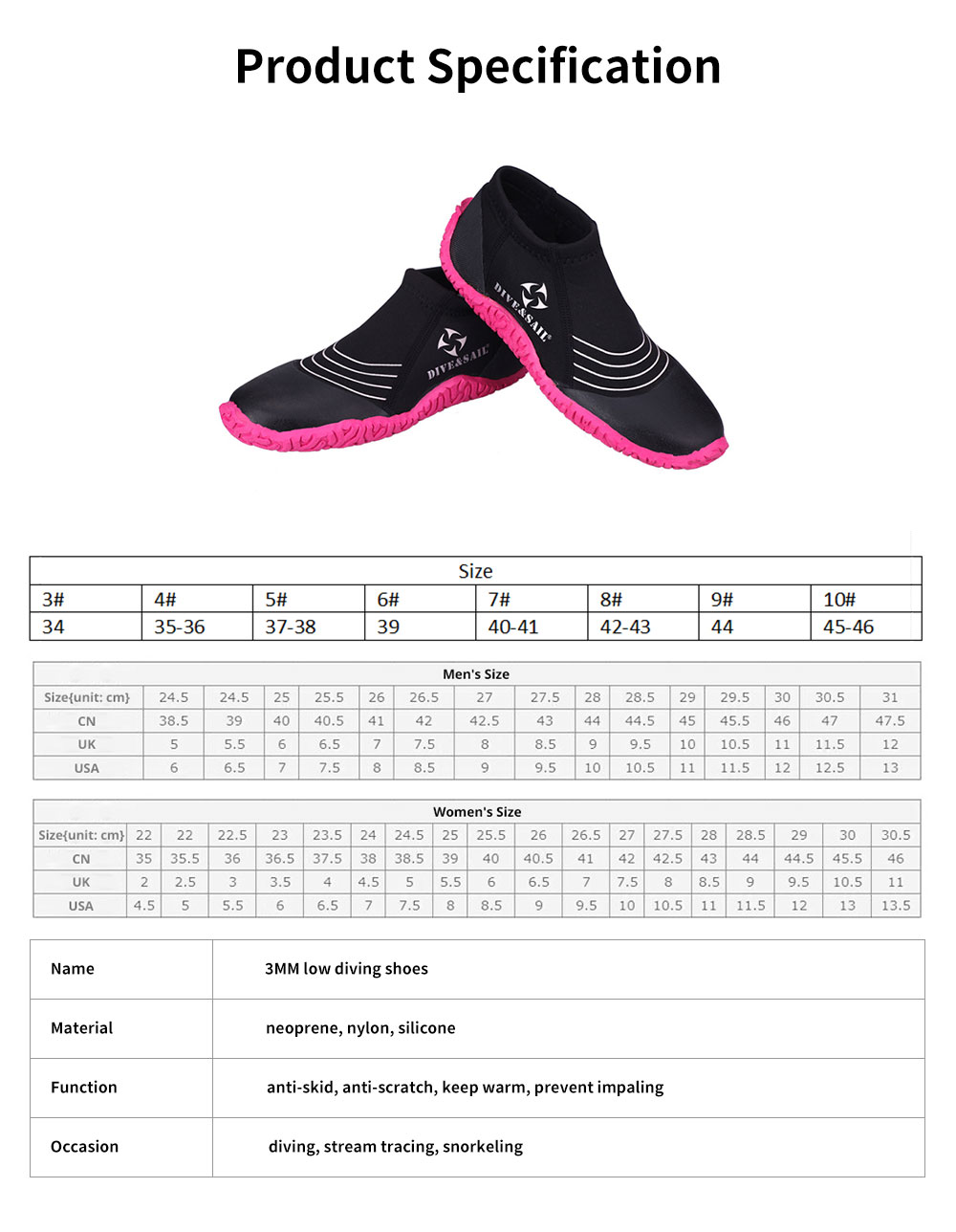 Diving Shoes with Neoprene Nylon Silicone Material, Anti-skid Prevent Scratch Sports Shoes for Men Women, River Tracing Keep Warm Snorkeling Fins Low Shoes 6