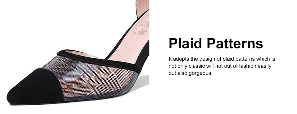 Plaid Sandals for Women, TPR Shoe Sole Sheepskin High Heels, Modified Leg Line Multi-sizes High-heeled Shoes Summer 2019 2