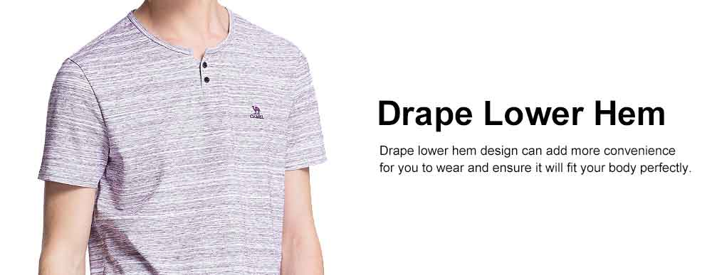 Retro Style Short Sleeves for Men, Henry Neck Drape Lower Hem Polo, Skin-friendly Leisure T-shirt Summer 2019 4