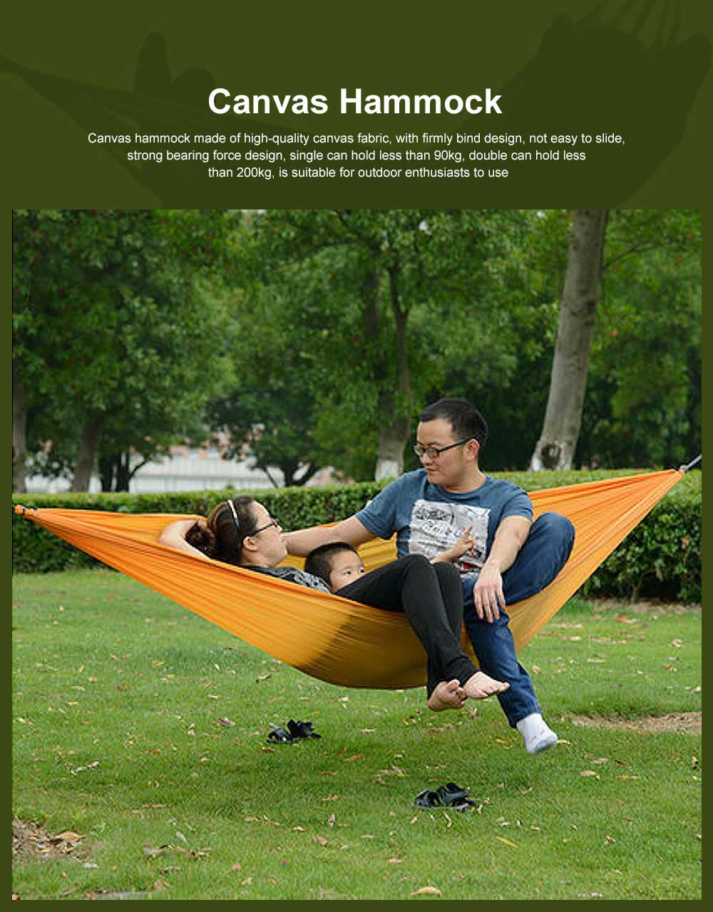 Canvas Hammock for Outdoor Enthusiasts, Strong Bearing Force Cot Bed, Firmly Bind Mesh Leisure Swing 0