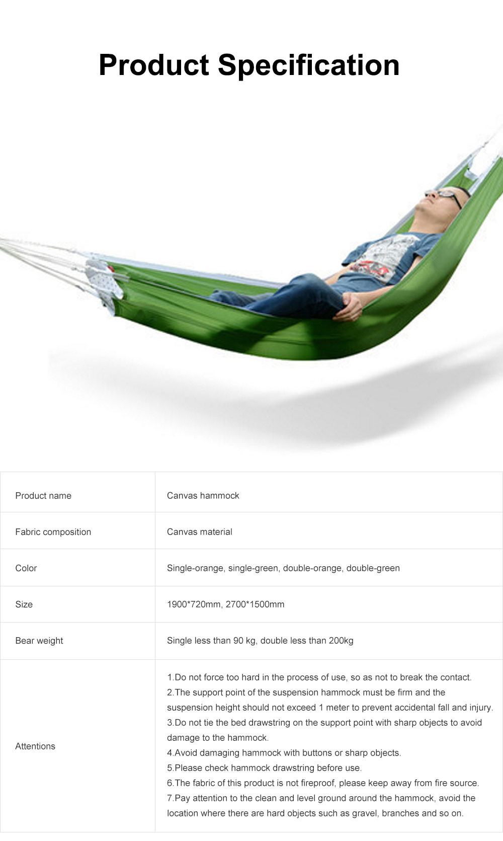 Canvas Hammock for Outdoor Enthusiasts, Strong Bearing Force Cot Bed, Firmly Bind Mesh Leisure Swing 6