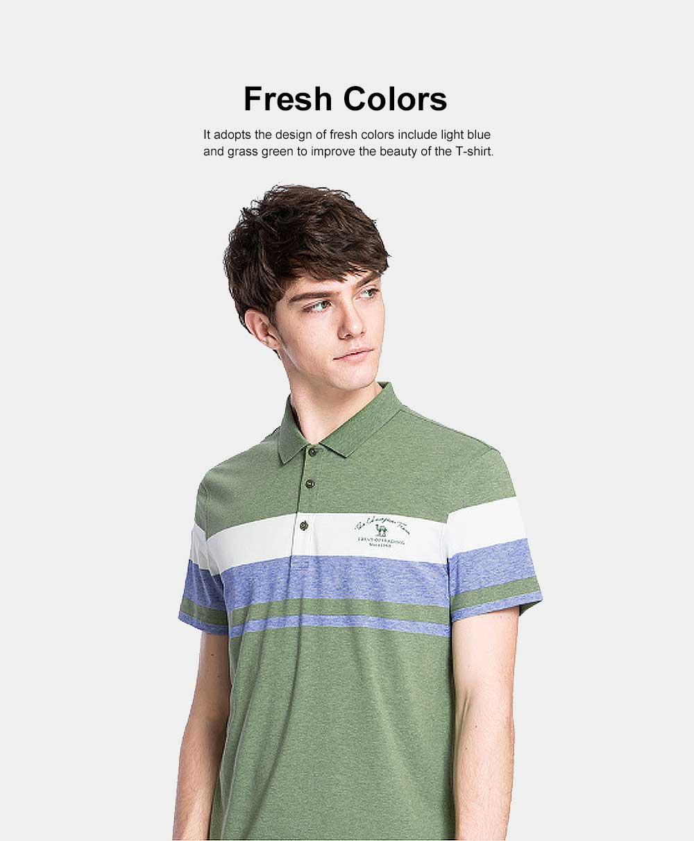 Cool Contrast Tops for Men, Recreational Edition Short-sleeve Polo, Breathable Spandex Cotton T-shirt 3