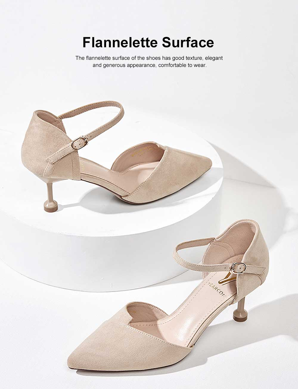 Tip Toe High Heel Sandals for Girl & Women, Women Pointy Stiletto Heels, Single Button Shoes with Platform Strap Buckle 1