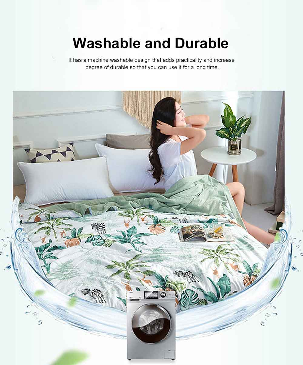 Air Conditioning Quilt, Classic Pattern Environment Friendly Blanket, High Color Fastness Good Moisture Absorption Summer Quilt 3