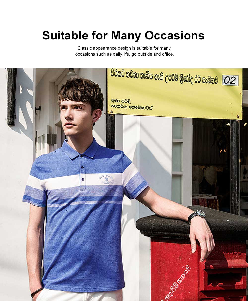 Cool Contrast Tops for Men, Recreational Edition Short-sleeve Polo, Breathable Spandex Cotton T-shirt 1