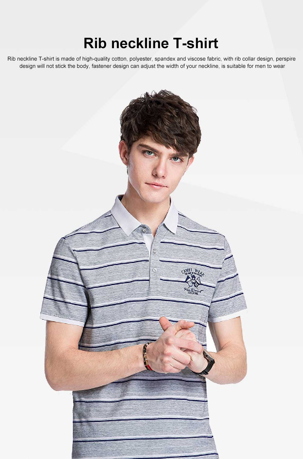 Rib Neckline Polo Shirt for Men, Perspire Fastener Design Shirt, Breathable Short-sleeve Polo Summer 2019 0