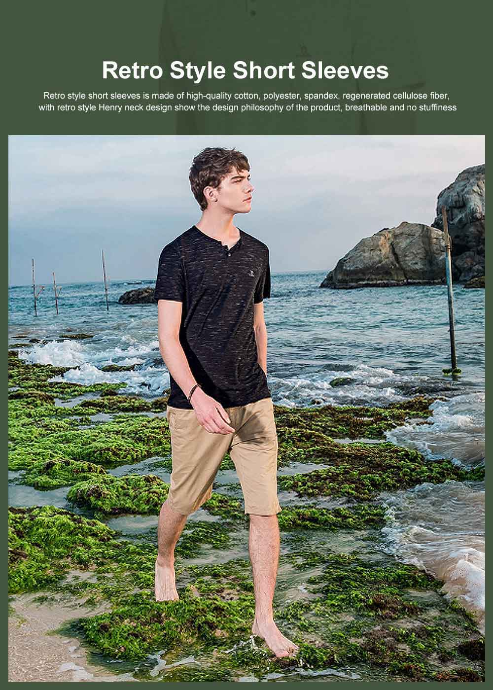 Retro Style Short Sleeves for Men, Henry Neck Drape Lower Hem Polo, Skin-friendly Leisure T-shirt Summer 2019 0