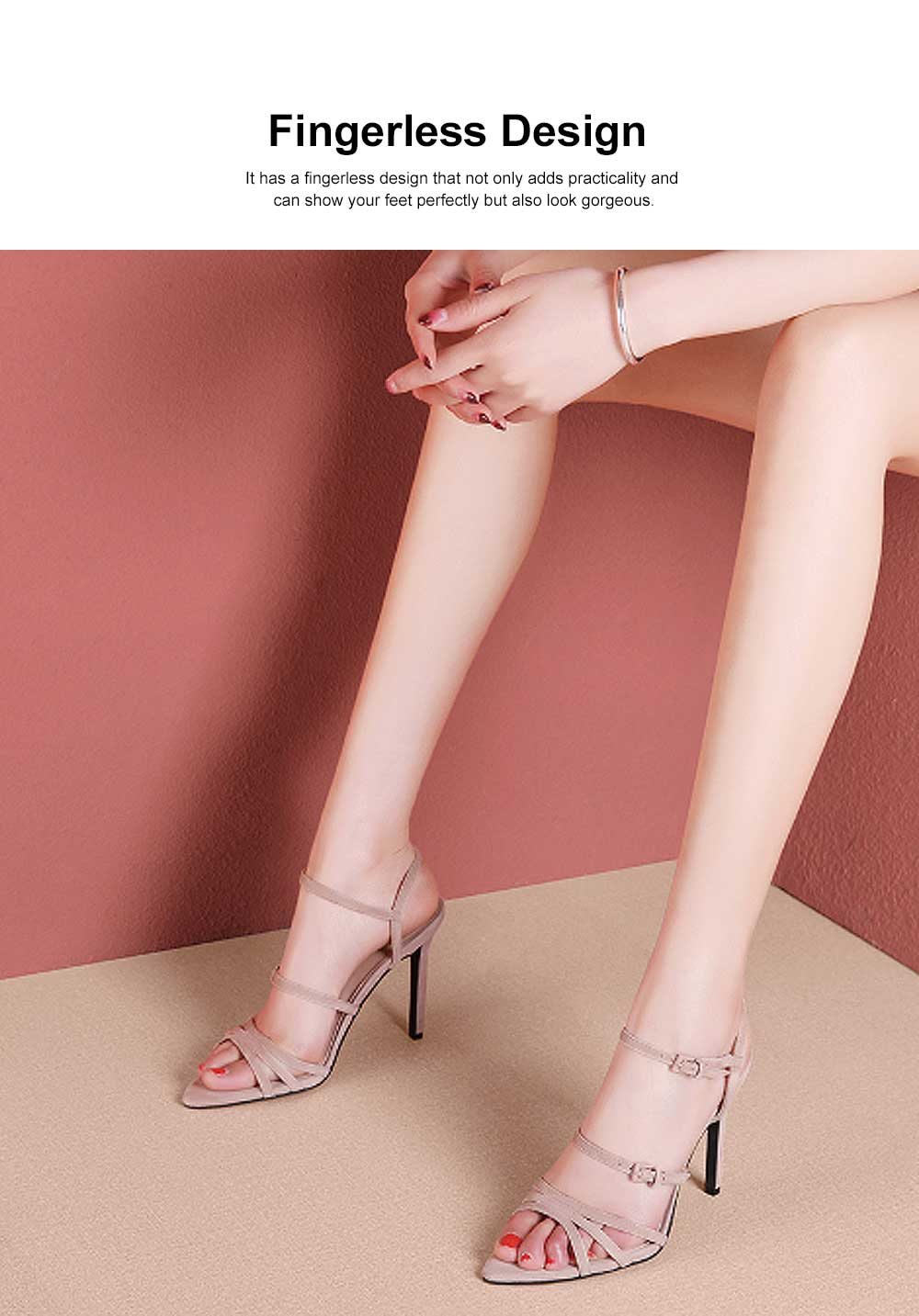 Heel Sandals for Women, Cross Lacing High-heeled Shoes with Fingerless TPR Sole, Kid Suede Heel-height 8cm Leather High Heels 1