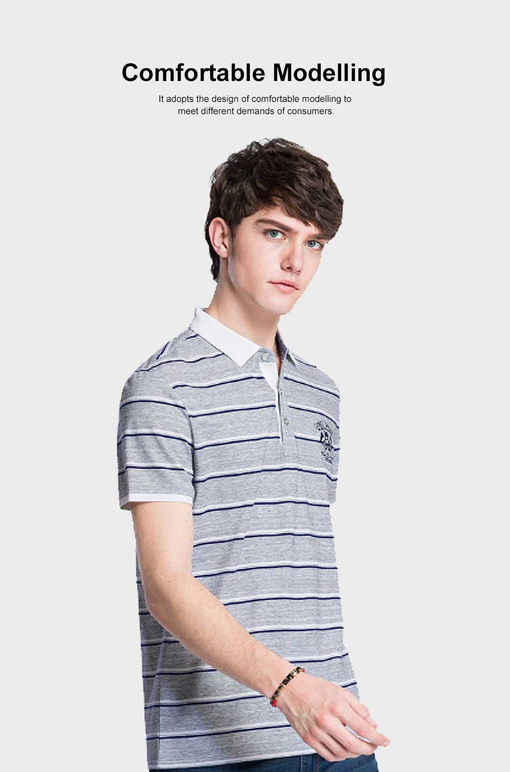Rib Neckline Polo Shirt for Men, Perspire Fastener Design Shirt, Breathable Short-sleeve Polo Summer 2019 1