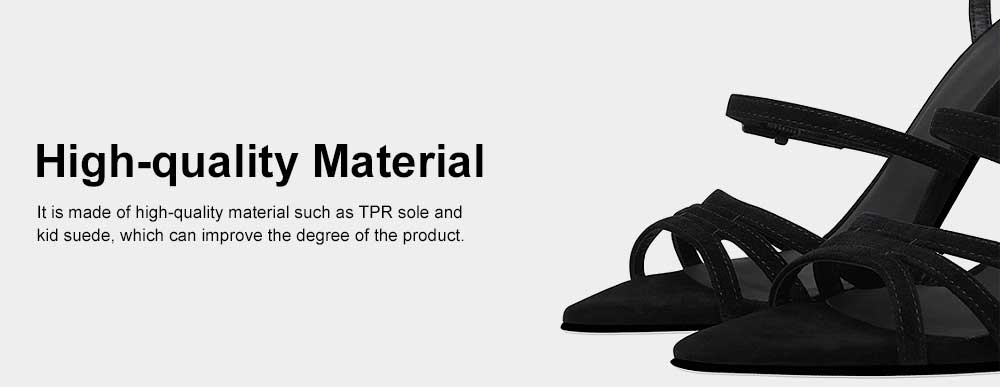 Heel Sandals for Women, Cross Lacing High-heeled Shoes with Fingerless TPR Sole, Kid Suede Heel-height 8cm Leather High Heels 5