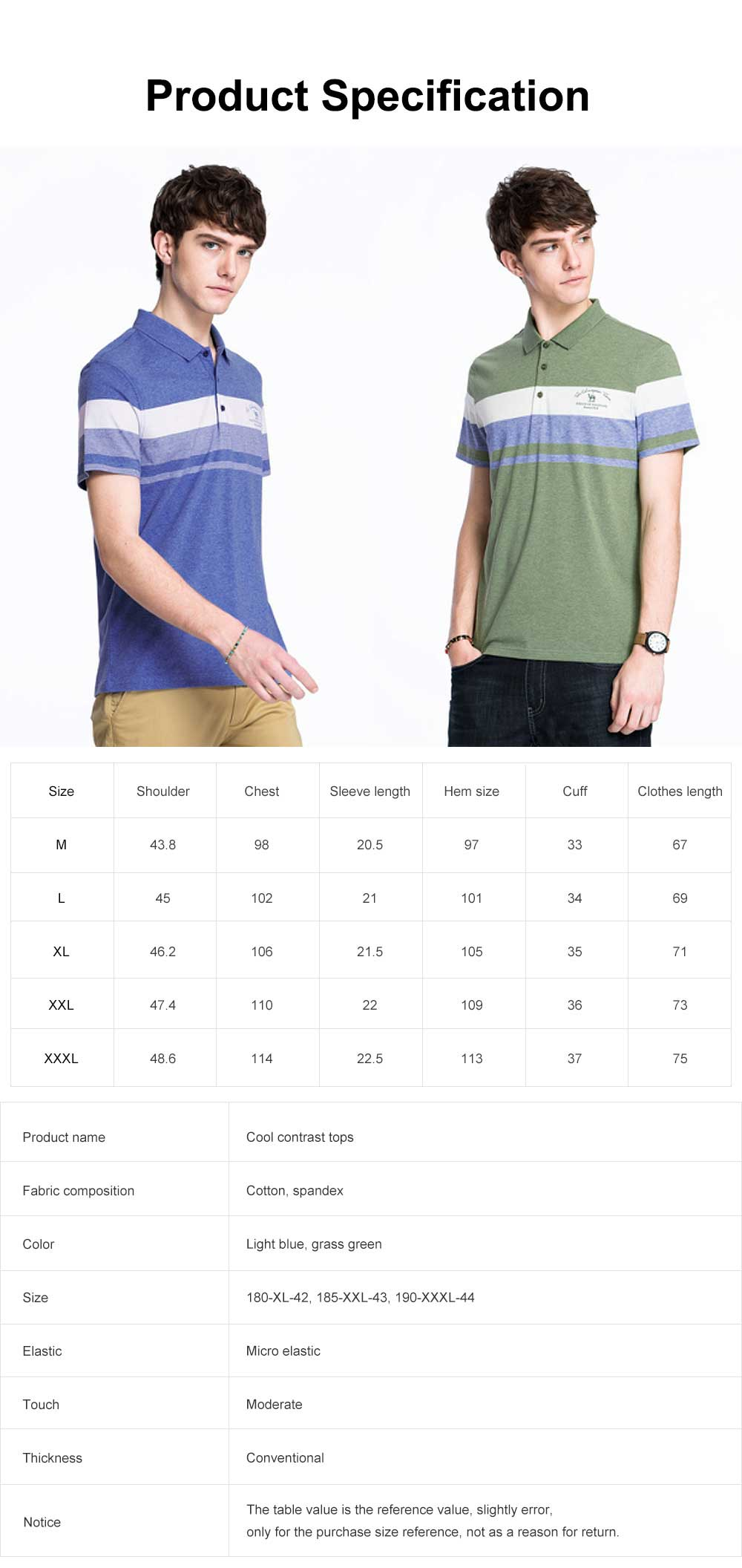 Cool Contrast Tops for Men, Recreational Edition Short-sleeve Polo, Breathable Spandex Cotton T-shirt 6