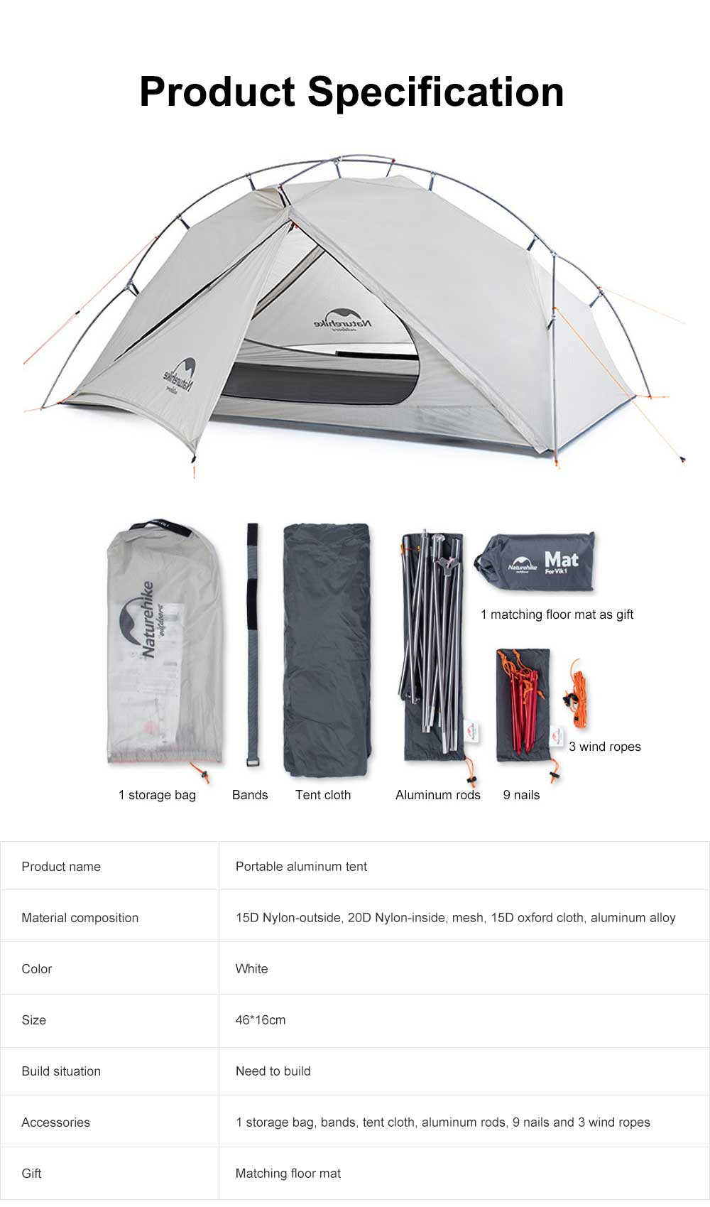 Ultra-light Outdoor Tent Camping Snow Rainproof Tents for Single Person Portable Aluminum Tent 6