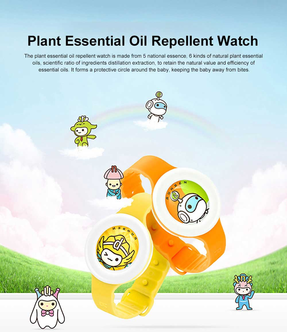 Plant Essential Oil Repellent Watch for Infant Baby & Pregnant Woman Set 5 Pieces, Portable Cartoon Images Mosquito Repellent 0