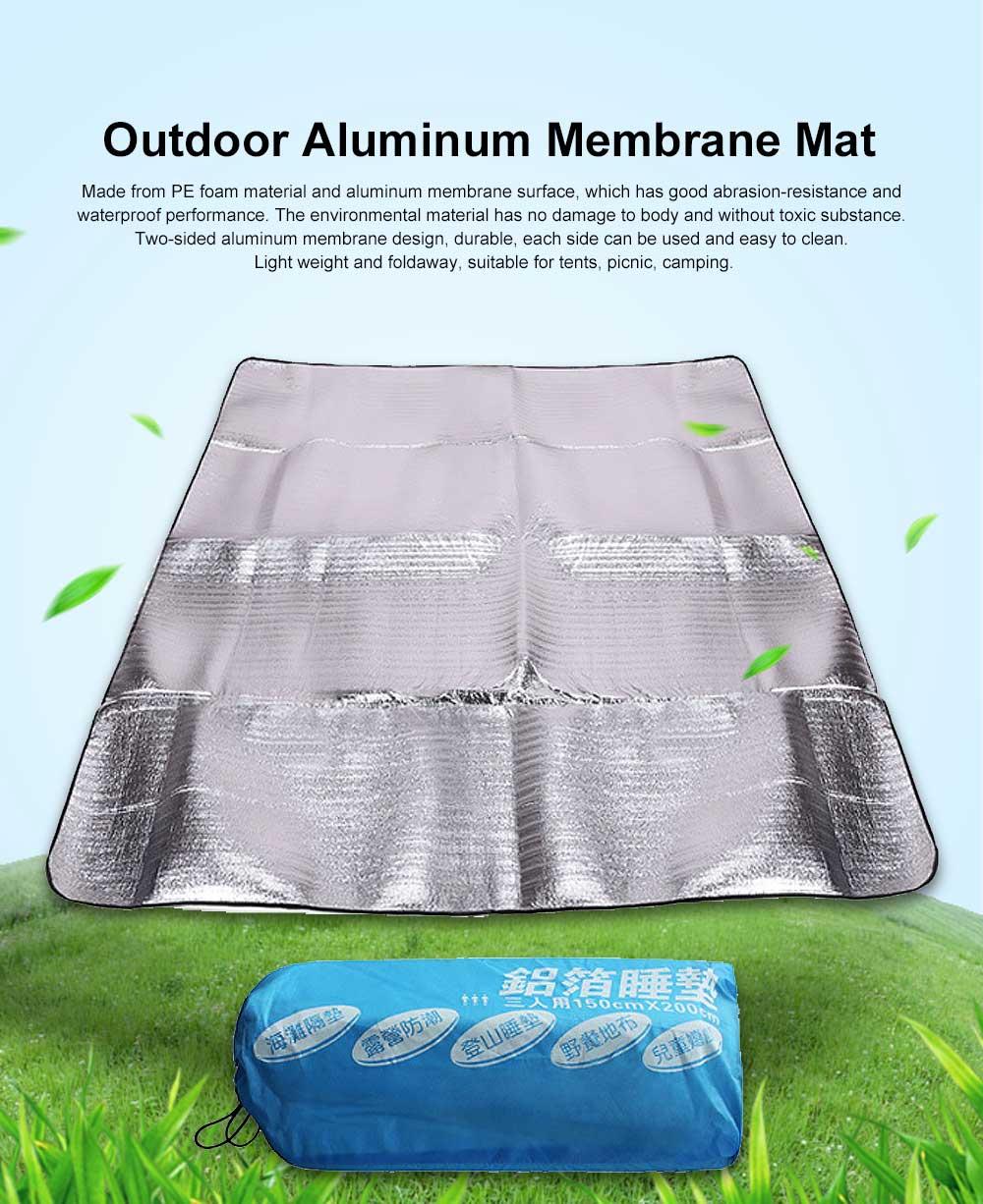 Outdoor Waterproof Aluminum Membrane Mat, Thickening Camping Tent Mat Beach Mat 200*150cm 0