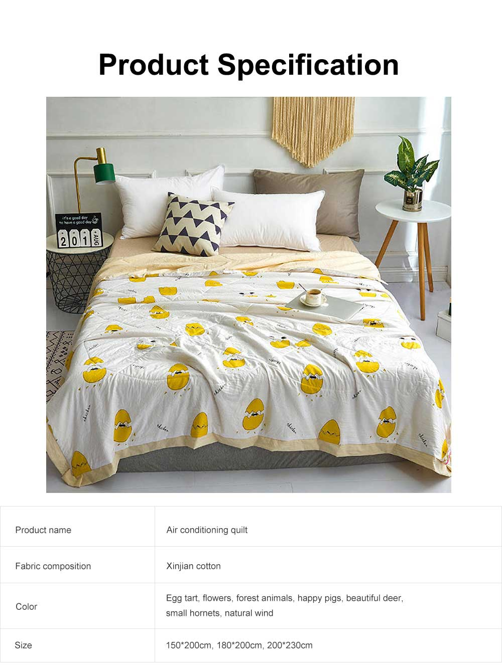 Air Conditioning Quilt, Classic Pattern Environment Friendly Blanket, High Color Fastness Good Moisture Absorption Summer Quilt 6