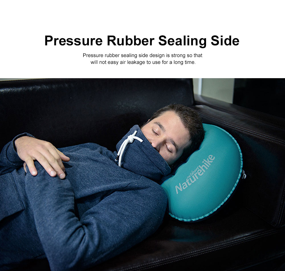 Inflatable Pillow for Outdoors, Office, Traveling, Enthusiast Fit the Neck Curve Pillow, with Pressure Rubber Sealing Side, One Key Charge and Deflate Travel Supply 3