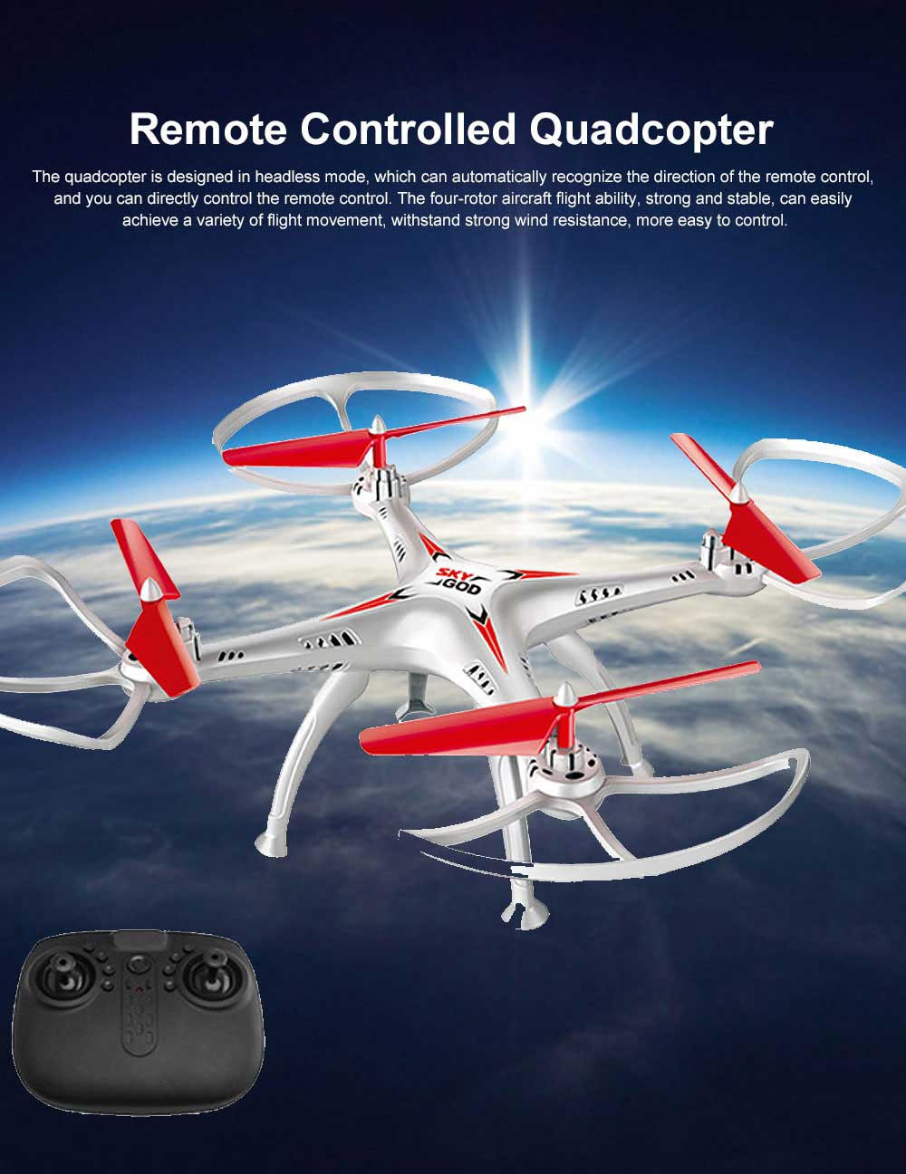 Remote Controlled Quadcopter Fall Resistant, Big Model Airplane Toys for Children, Remote Drone 0