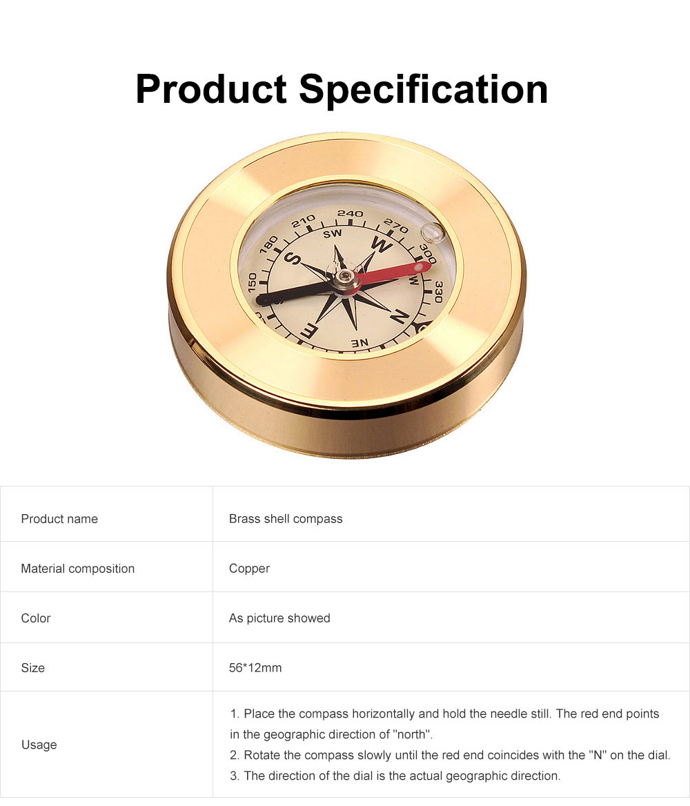 Brass Shell Compass for Mountaineering Camping Waterproof, Outdoor Vehicle-mounted Compass, Magnetic Pocket Directional Compass 6