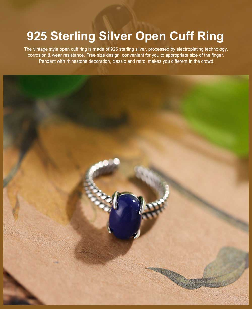 925 Sterling Silver Open Cuff Ring, Adjustable Ring with Blue Crystal for Men & Ladies Archaize Elegant Jewelry Rings 0