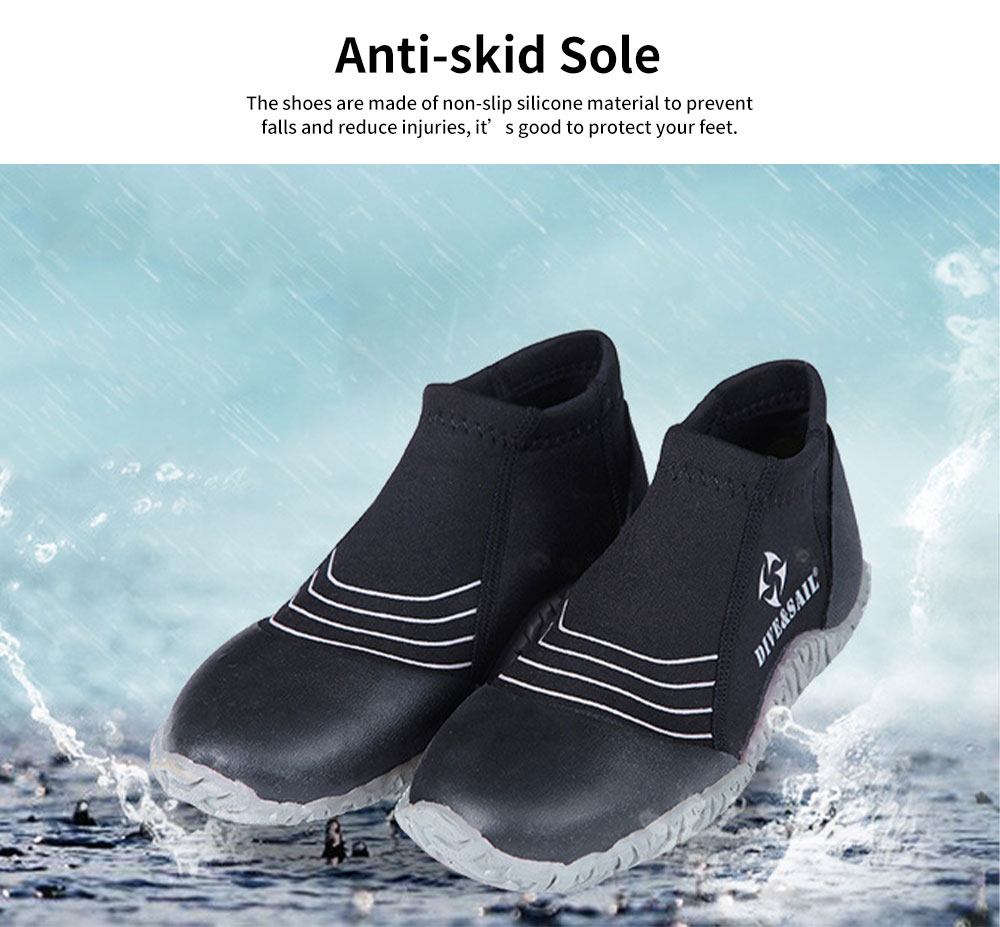 Diving Shoes with Neoprene Nylon Silicone Material, Anti-skid Prevent Scratch Sports Shoes for Men Women, River Tracing Keep Warm Snorkeling Fins Low Shoes 4