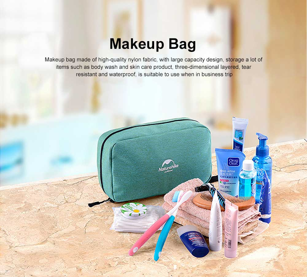 Makeup Bag for Business Trip, Large Capacity Tear Resistant Fabric Cosmetics Storage Bag, Three-dimensional Layered Barrier Portable Organizer Bag 0