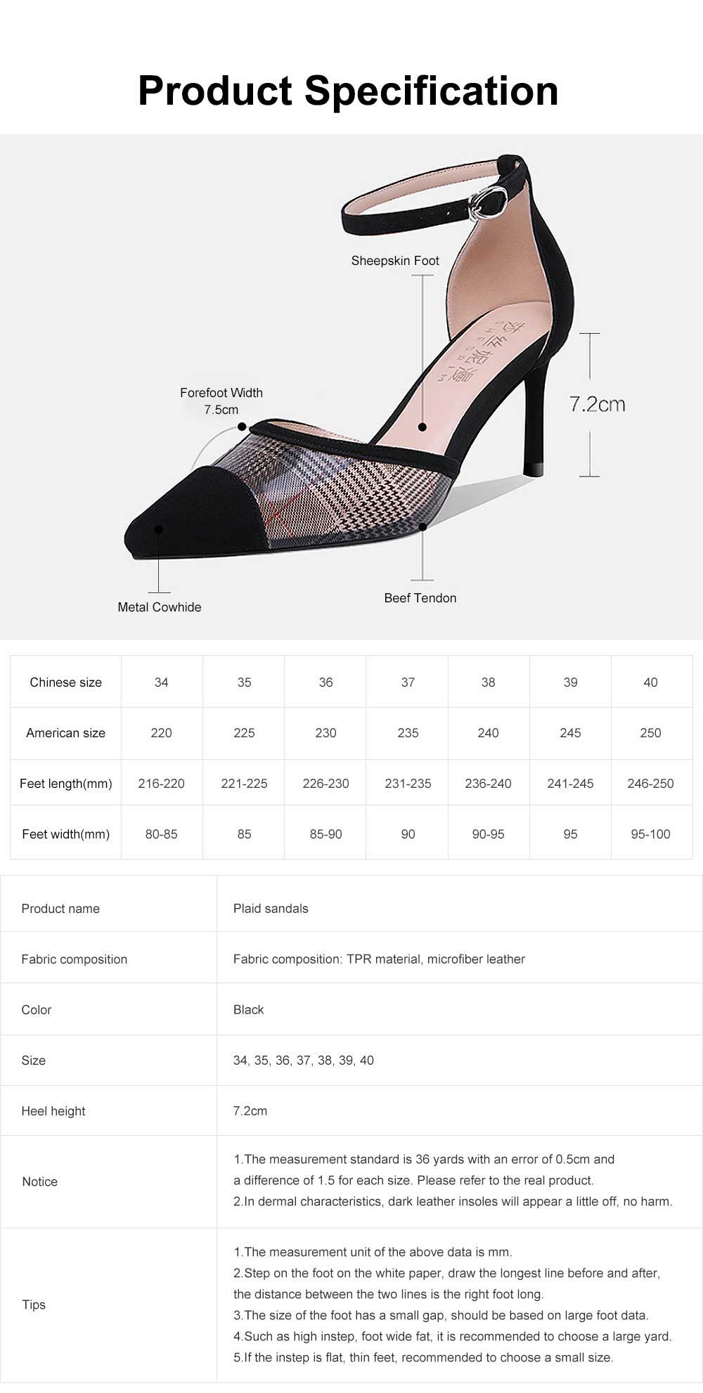 Plaid Sandals for Women, TPR Shoe Sole Sheepskin High Heels, Modified Leg Line Multi-sizes High-heeled Shoes Summer 2019 6