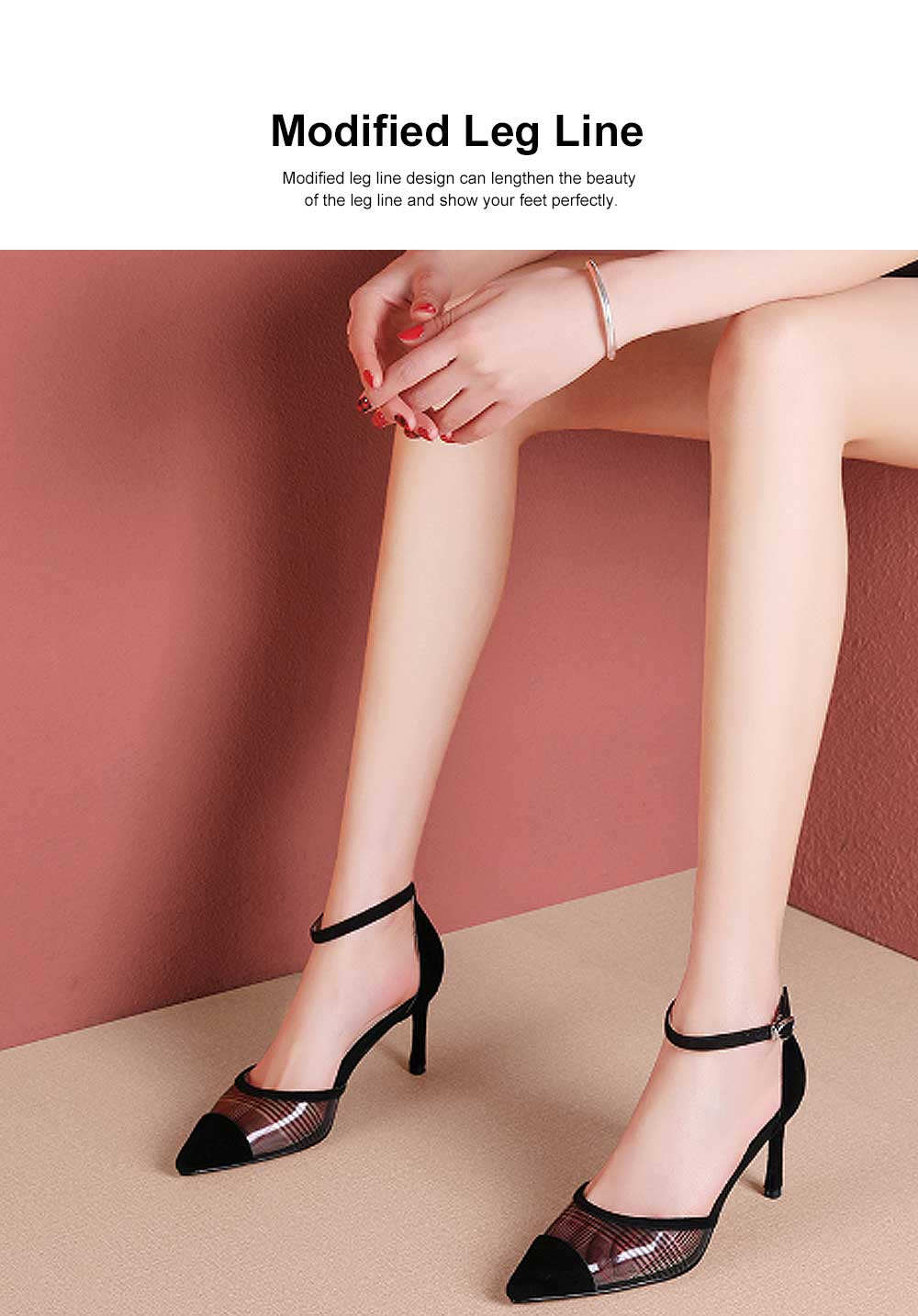 Plaid Sandals for Women, TPR Shoe Sole Sheepskin High Heels, Modified Leg Line Multi-sizes High-heeled Shoes Summer 2019 1