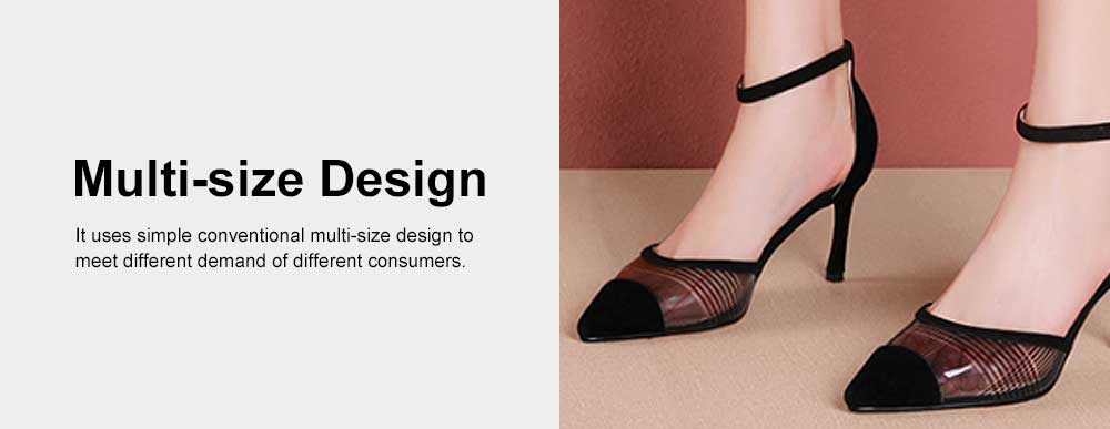 Plaid Sandals for Women, TPR Shoe Sole Sheepskin High Heels, Modified Leg Line Multi-sizes High-heeled Shoes Summer 2019 5