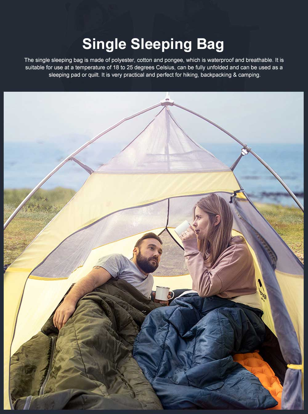 Breathable Sleeping Bag for Adults Indoors & Outdoors Use, Water-proof Single Sleeping Bags are Perfect for Hiking Backpacking Camping 0